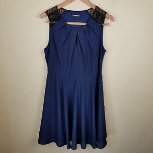 Express Navy Blue Black Mess Tank Mini Dress 12